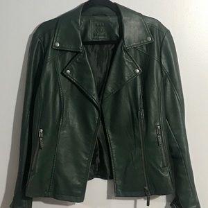 Max Studio Dark Green Faux Leather Jacket